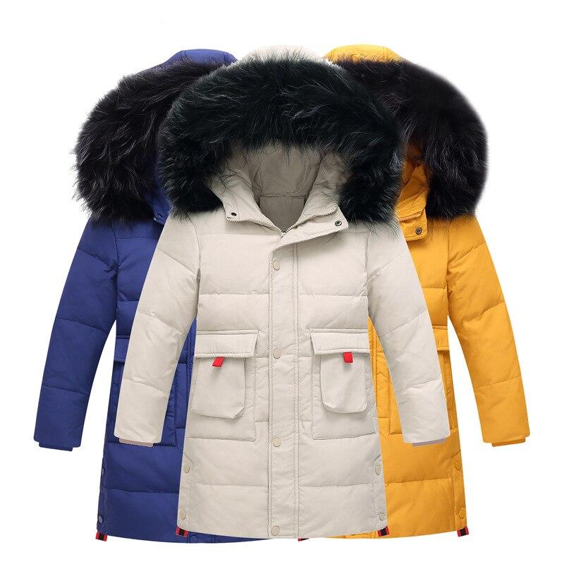 OLEKID 2019 -30 Degrees Russian Winter Boys Down Jacket Hooded Thicken Warm Boys Outerwear Coat 7-14 Years Kids Teenage Parka