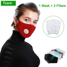Tcare Fashion Face Mask Unisex Cotton Breath Valve PM2.5 Mouth Mask Activated carbon filter respirator Mouth muffle