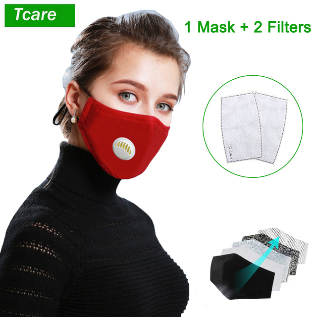 Tcare Fashion Face Mask Unisex Cotton Breath Valve PM2.5 Mouth Mask Activated carbon filter respirator Mouth-muffle