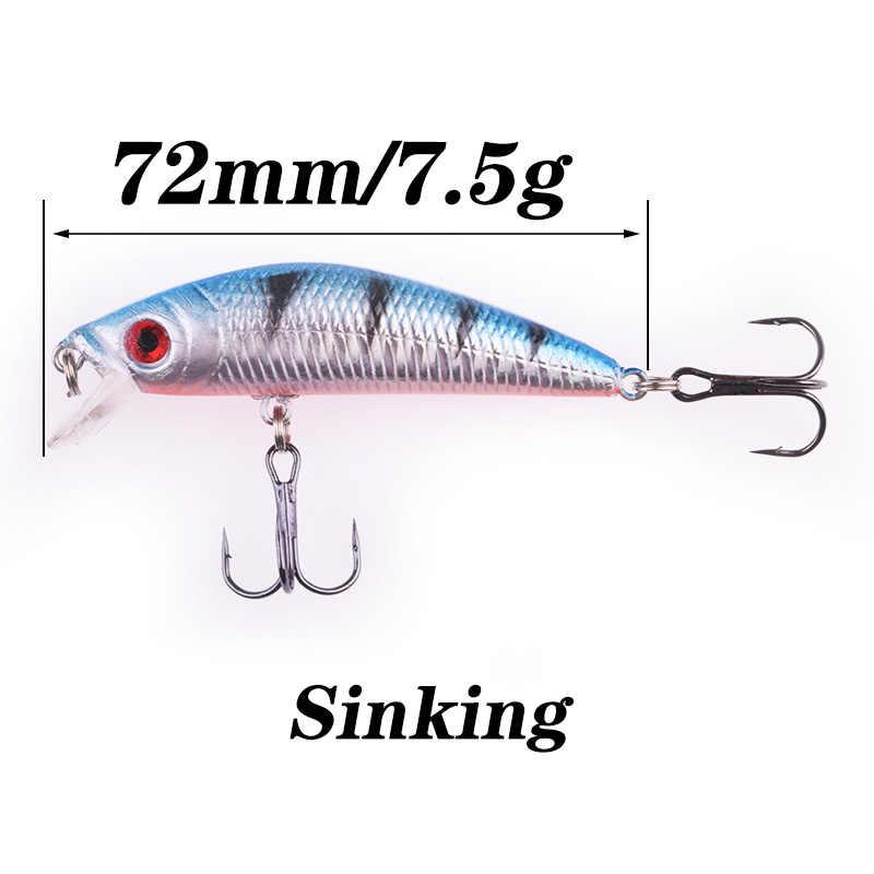 1Pcs MinnowตกปลาLure 7.2ซม.7.5G Sinking Wobblersเหยื่อHardประดิษฐ์Bass Pike Pesca Crankbait Treble Hooks lure Tackle