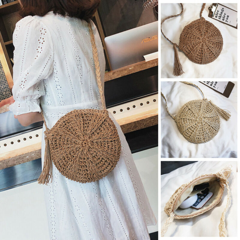 Women Round Straw Bag Handwoven Rattan Handbags Knitted Crossbody Bag Tote Beach