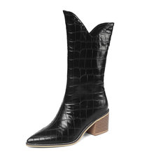 2019 Fashion Pointed Toe Mid Calf Boots Women Faux Leather Square High Heel Knee High Boots Autumn Winter Western Female Boots autumn winter new suede leather female beautiful fringe boots sexy high heel long tassel mid calf boots tide women mid calf boot