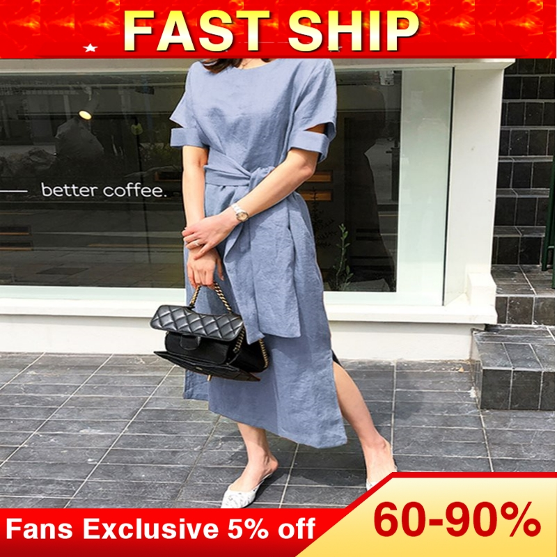 Fashion Simple Elegant Korean Long Dress Women Lace Up Hollow Chic Blue Street Travel Summer Office Ladies Causal Maxi Dresses