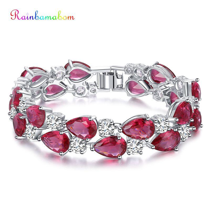 Rainbamabom 925 Sterling Silver Pear Drop Created Moissanite Ruby Emerald Gemstone Bangle Charm Bracelets Fine Jewelry Wholesale