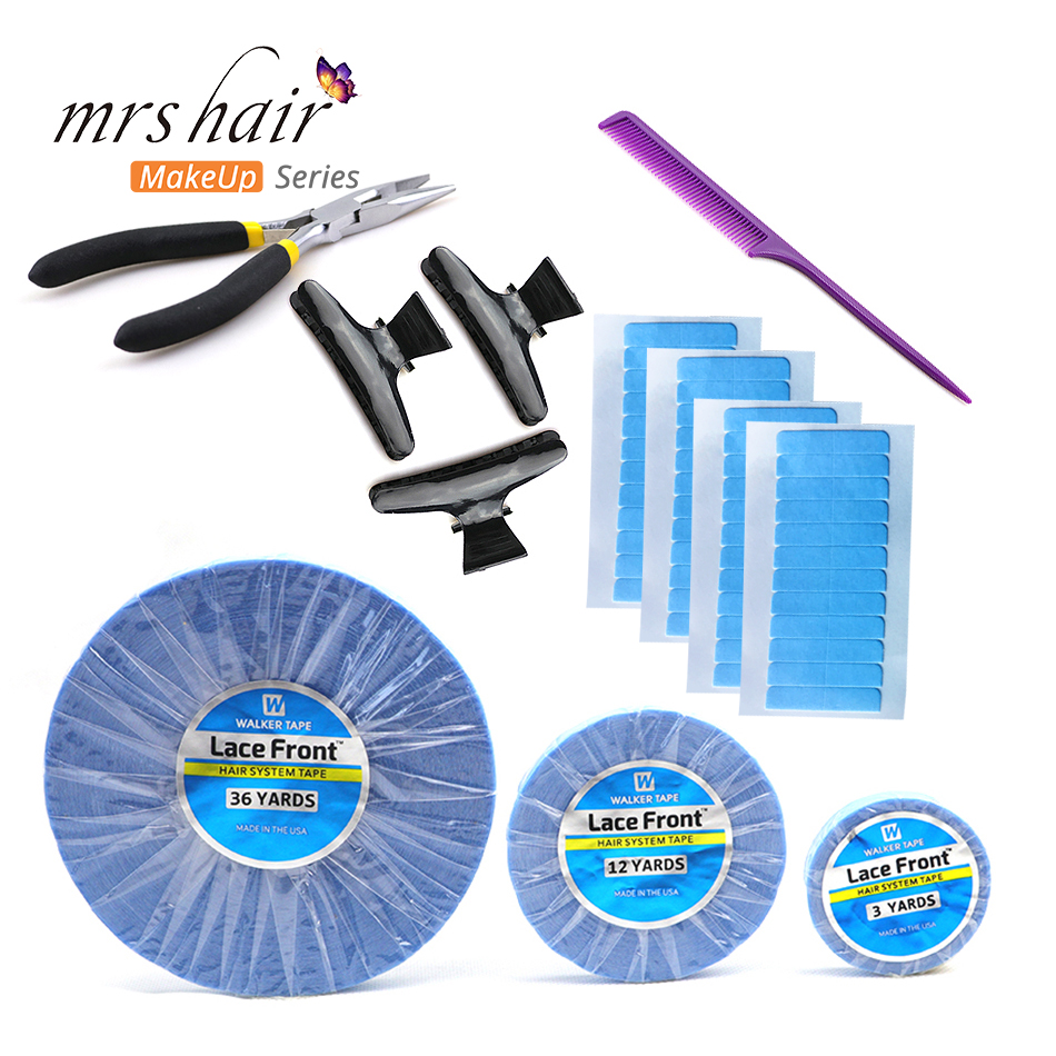 Replacement Tape For Brazilian Hair 5 Sheets Super Adhesives Blue Tape Tabs Strips Double-Side Lace Front Support Tape Rolls