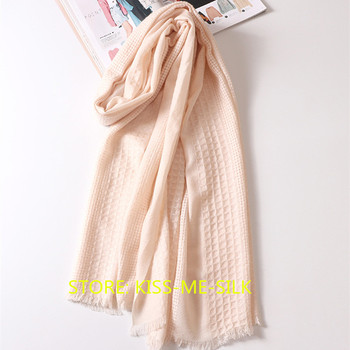 KMS New 48-piece hollow pure wool scarf female winter knitted scarf to keep warm thicken scarf 100*200CM/95G pure color knitted infinity scarf