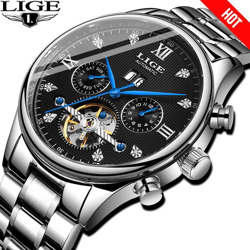 Где купить LIGE Горячие Автоматические Мужские механические часы мужские s часы лучший бренд класса люкс Бизнес водонепроницаемые военные Tourbillon часы reloj hombre