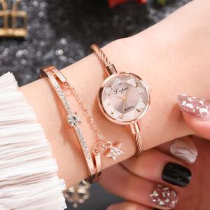 Image 2 - Marka Lvpai kobiety bransoletka do zegarka złoty Casual mały zegarek złoty geometryczny szklana powierzchnia kolorowe zegarek zegarek kwarcowy dla pań