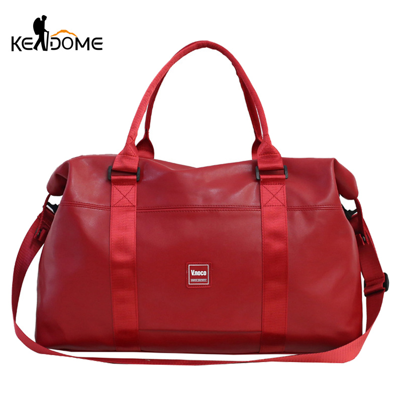 Red PU Leather Gym Bag Women Men Travel Fitness Shoulder Handbag Waterproof Training Tote Blaso Tas Sac De Sport Gymtas XA207D