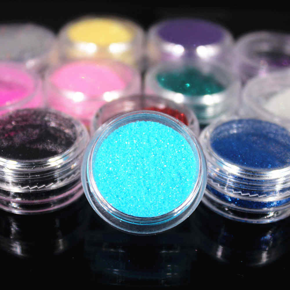 2020 12 Kleuren Glitter Nail Art Dust Tool Kit Acryl Gem Nagellak Gereedschap 3D Nail Art Decoraties Nail Glitter poeder NR84