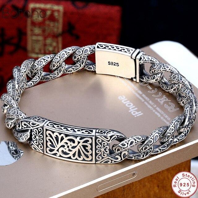 925 Sterling Silver colour Mens Personality Bracelet Thai Silver colour Retro Domineering Punk Tide Bracelet Pattern Whip Chain