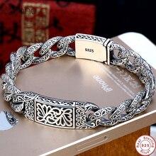 Pulsera de plata de ley 925 para hombre, brazalete con personalidad, color plata tailandés, Retro, Punk, dominante, cadena látigo con patrón