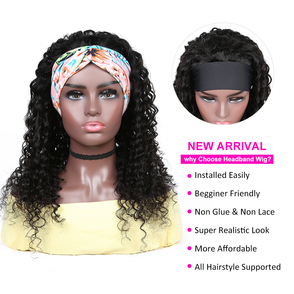 YYong Indian Deep Wave Headband Wig With Scarf Natural  Wigs Glueless Wig for Women Can Be Colord 8-24in Fast Ship 2