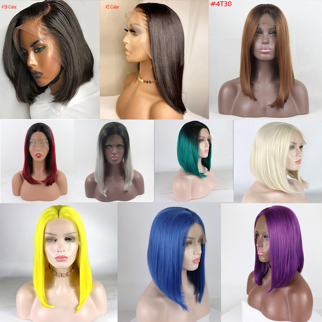 13*4 prosto czarny krótki Bob syntetyczny 180% koronki przodu peruk z przedziałek z boku dla kobiet ciepła włókna włosów realistyczne odzież na co dzień peruka
