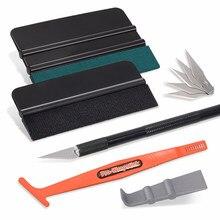 EHDIS – Kit d'outils pour Film d'emballage de voiture, feuille de Fiber de carbone, raclette en plastique vinyle, teinte de fenêtre, autocollant grattoir, couteau à découper en métal