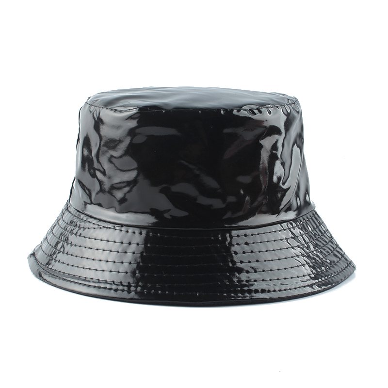2020 New Fashion Waterproof Black Bucket Hat Reversible Leather Fishing Cap Unisex Fisherman Hats Hip Hop Casual Sun Caps