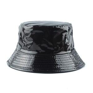 2020 New Fashion Waterproof Black Bucket Hat Reversible Leather Fishing Cap Unisex Fisherman Hats Hip hop Casual Sun Caps