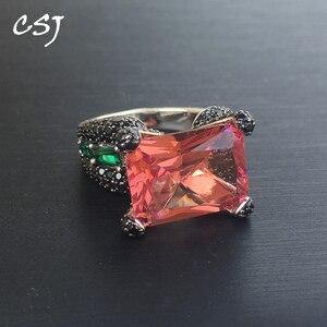CSJ nowy projekt duży kamień 925 srebrny pierścień Sterling zmień kolor zultanit OCT12 * 16mm kobiety Lady Wedding Engagment pudełko na prezent na przyjęcie