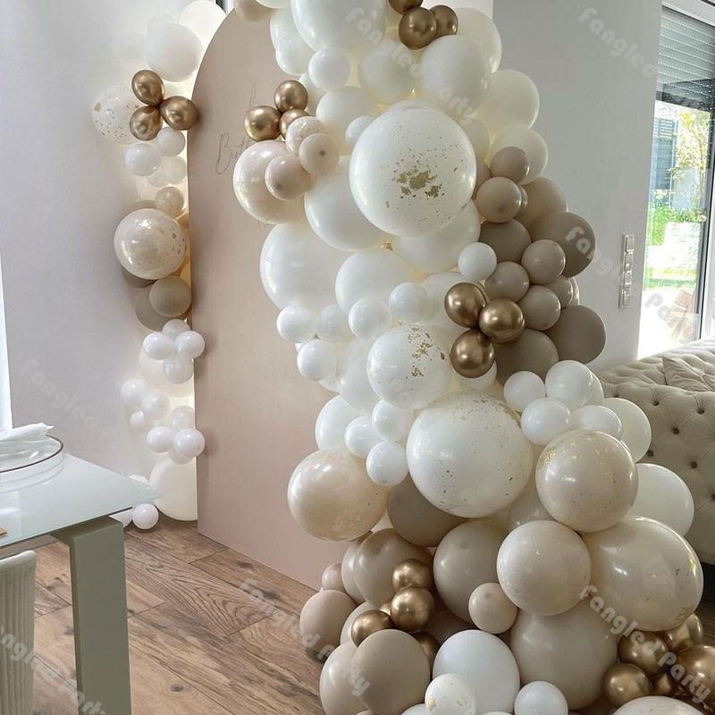 155 шт Матовый белый натуральный песок хром золотистый воздушный шарик в комплект гирлянды Пол раскрыть украшения Baby Shower День рождения сваде...