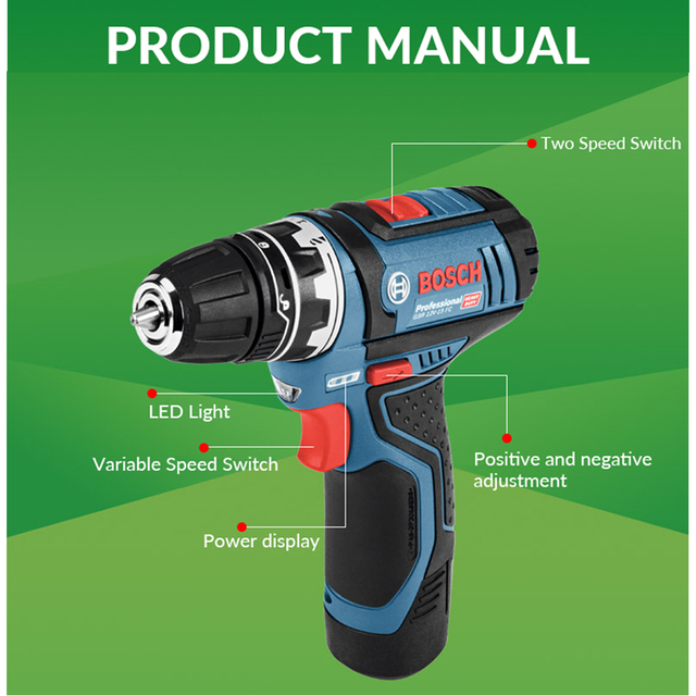 Bosch GSR12V Cordless Drill Electric Drill Wireless Power Driver Lithium-Ion Battery Screwdriver Drilling Machine With LED Ligh 4