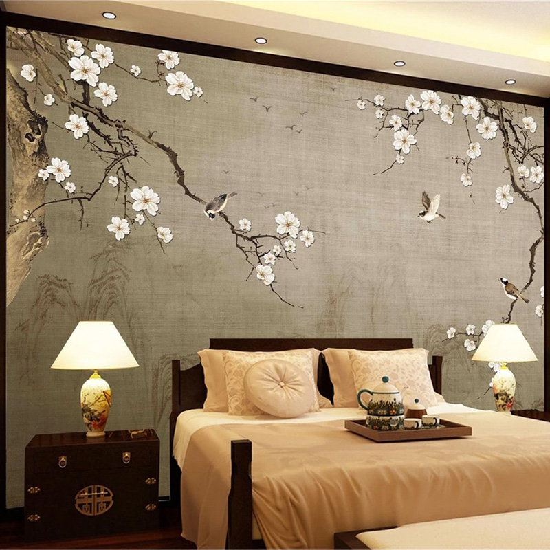 Vintage Wallpaper 3D Hand-painted Chinese Style Plum Blossom Flower Bird Photo Wall Mural Living Room TV Sofa Backdrop Wallpaper
