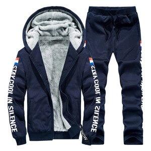 Image 3 - Polar sıcak Hoodies erkekler kış 2 adet Set kapşonlu eşofman kalın kadife kazak + pantolon marka erkek giyim rahat spor elbise
