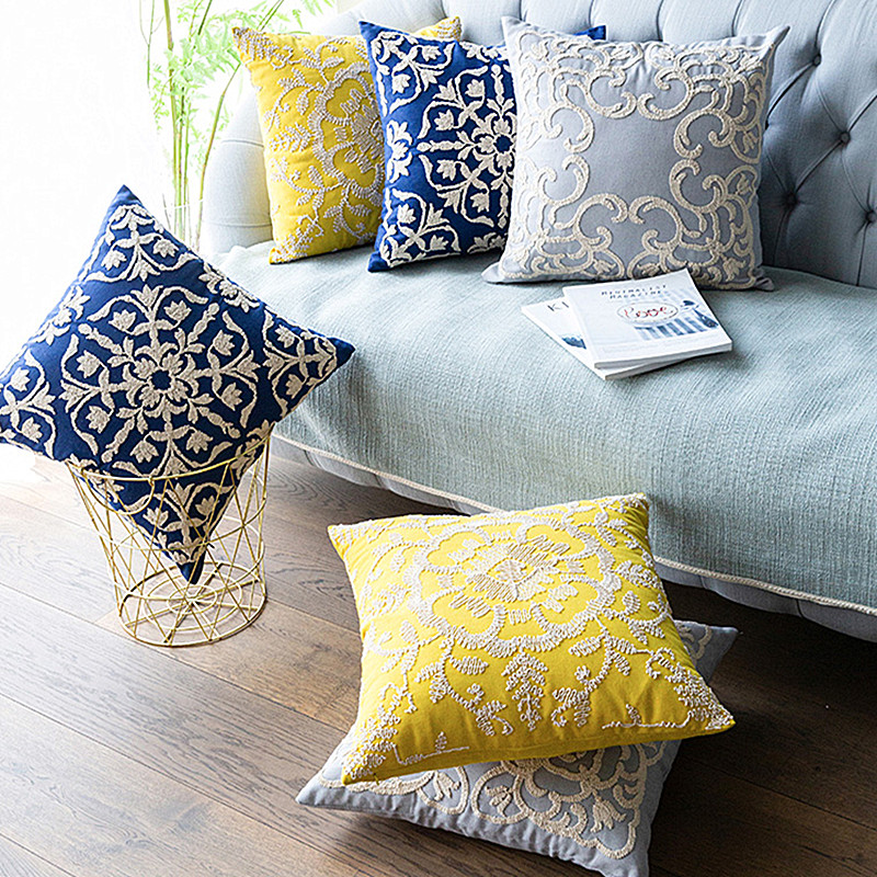 Navy Yellow Grey Euro Rope Embroidery Cushion Cover Home <font><b>Decoration</b></font> Linen Cotton Boho Style Ethnic <font><b>Pillow</b></font> Cover <font><b>50x50cm</b></font> <font><b>Pillow</b></font> image