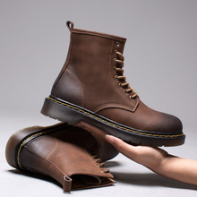 Martin-Boots Winter Shoes Casual-Shoes High-Top Men Genuine-Leather Male Lace-Up Ankle