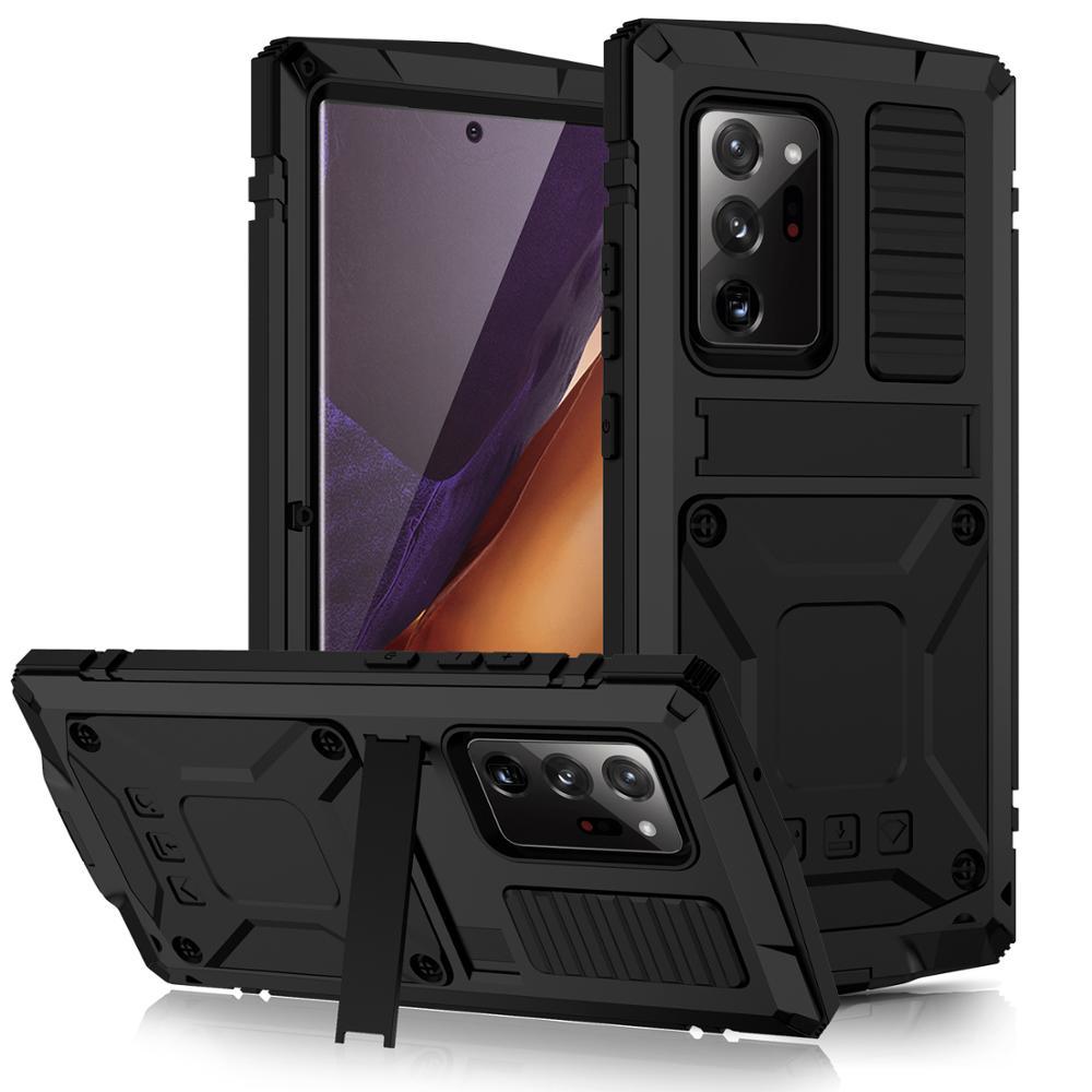 Сверхпрочный армированный чехол R-Just для телефона Samsung Galaxy Note 20 S21, ультраметаллический алюминиевый защитный чехол и подставка для Note 20