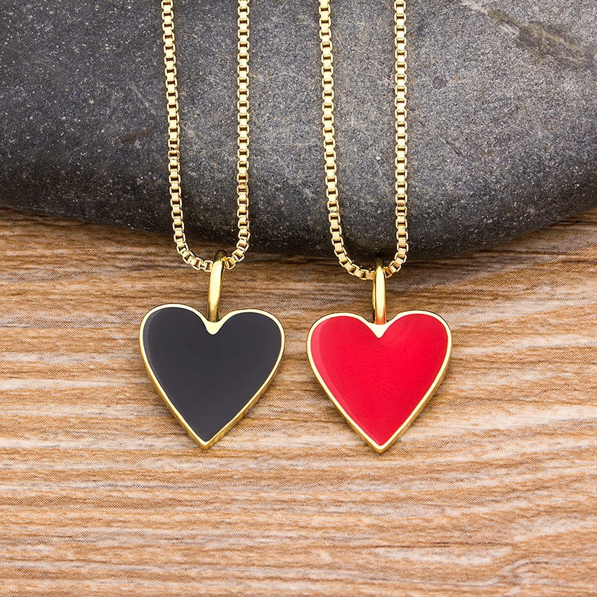 New Fashion Romantic Heart Necklace Black/Red Color Long Chain Choker Copper Zircon Charm Party Wedding Gift Jewelry for Women
