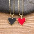 Neue Mode Romantische Herz Halskette Schwarz/Rot Farbe Lange Kette Choker Kupfer Zirkon Charme Party Hochzeit Geschenk Schmuck für frauen