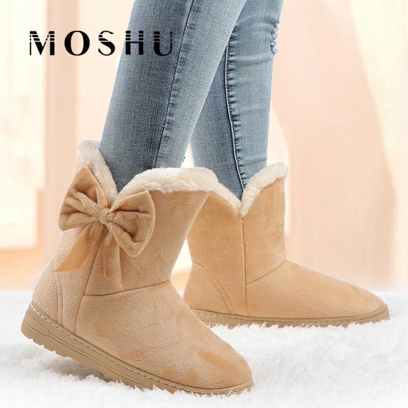 Kış ayakkabı kadın 2020 kar botları kadın artı boyutu yarım çizmeler üzerinde kayma papyon peluş ayakkabı bayan botları siyah Chaussure Femme