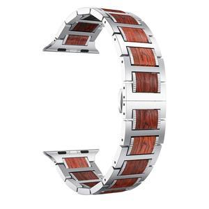 Image 2 - Bracelet en bois pour Apple watch, en bois de santal rouge + acier inoxydable, bracelet de Apple watch série 5 4 3 38, 42, 44mm