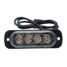 цена на 4Led Strobe Warning Light Strobe Grille Flashing Lightbar Truck Car Amber Lamp