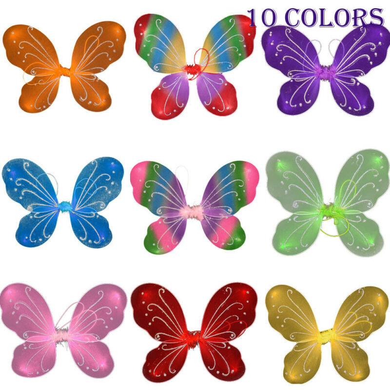 42cm Fancy Adult Kid Pixie Wing With Glitter Fairy Large Butterfly TuTu Dress Up Princess Girl Party Costume Accessory 10 Colors