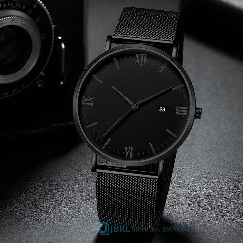 Black Wrist Watch Men Watches Business Dress Style Wristwatch Stainless Steel Male Quartz Watch For Men Clock Hour With Calendar
