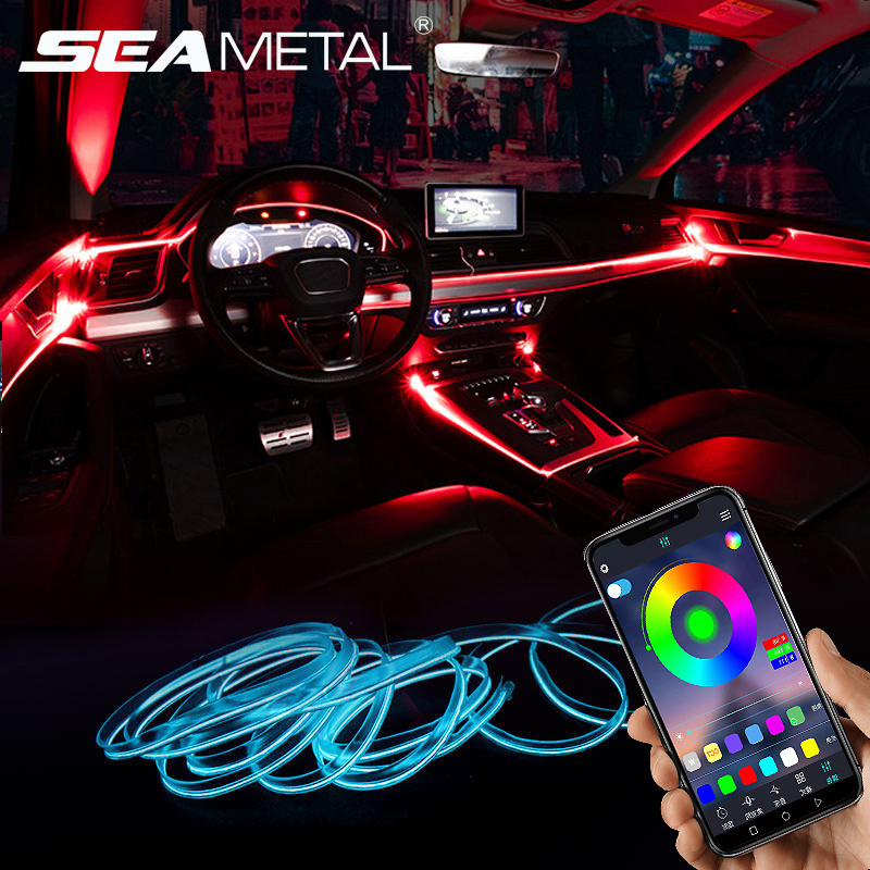 <font><b>Car</b></font> Atmosphere Lights <font><b>EL</b></font> Neon Wire Strip Light RGB Multiple Modes App Sound <font><b>Control</b></font> Auto Interior Decorative Ambient Neon Lamp image