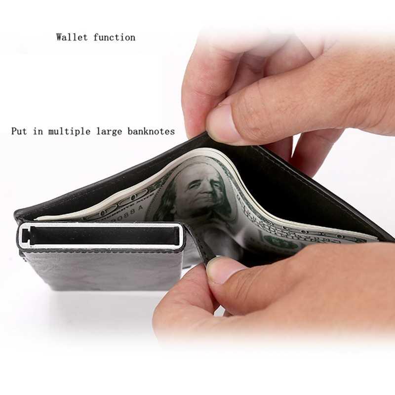 Homens De Couro de gravação a laser de Metal duplo RFID Bloqueando Carteira Pop up Caso Titular Do Cartão de Crédito de Alumínio Segurar 12 Cartões purse