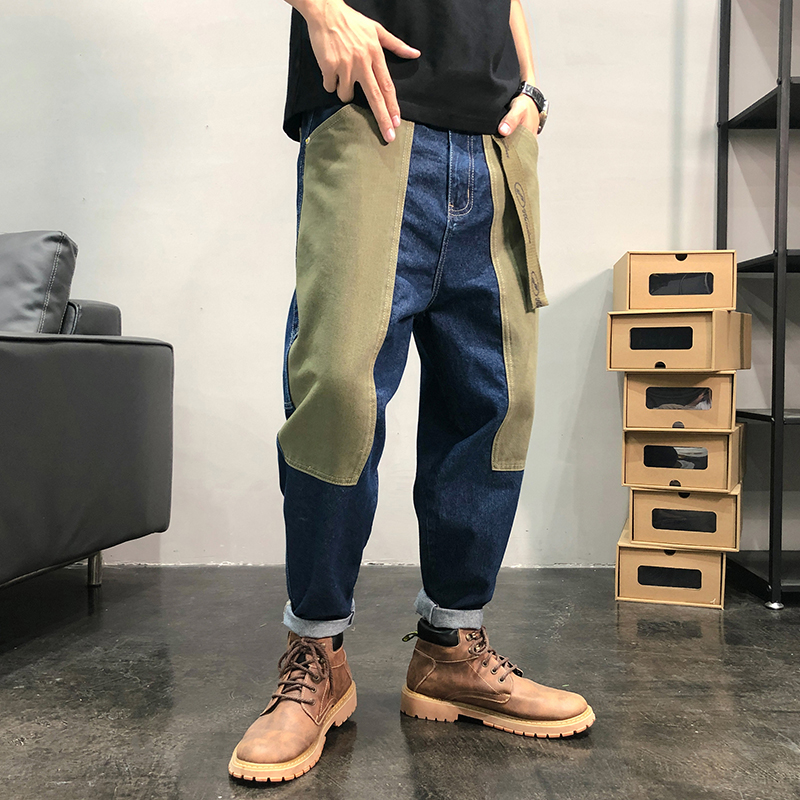 iiDossan 2020 New Fashion Patchwork Jeans Men Regular Japanese Streetwear Summer Jeans Simple HipHop Men Denim Jeans Trousers