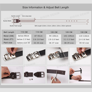 Image 5 - BISON DENIM Men Belts Cow Leather Jeans Waistband Genuine Leather Male Belt Soft Alloy Pin Buckle Mens Belt N71350 2C