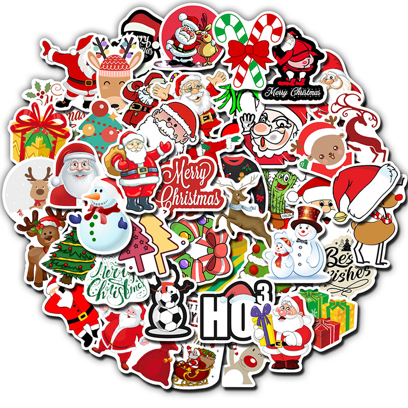 50 PCS Pack Stickers Christmas Deer Santa Claus Snowman Children Gift Sticker DIY For On Skateboard Suitcase Luggage Stickers