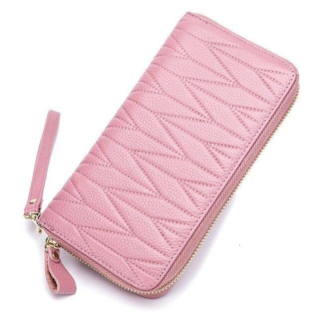 2019 mulheres carteira de couro genuíno bolsa da moeda longo sacos embreagem rfid titular do cartão do sexo feminino dinheiro bolso carteiras com caso do telefone