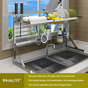 Image 5 - Over Sink Dish Drying Rack Kitchen Drainer Shelf for Dishes Bowl Stainless Steel Storage Counter Organizer Over Sink Space Saver