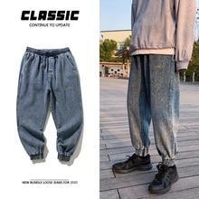 Шнурок джинсы мужская мода вышивка промывают ретро свободного покроя брюки мужчины уличная дикие свободные хип-хоп джинсовые брюки Мужские