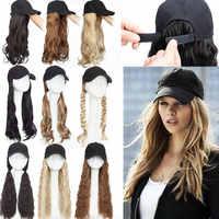 Snoilite длинная волнистая бейсболка с удлинителем волос, синтетическая шапка для женщин и девушек, повседневный парик для волос