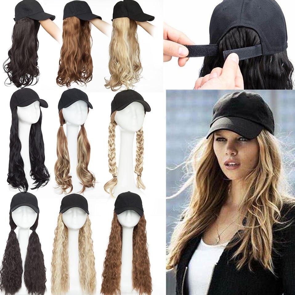 Snoilite longue casquette de baseball ondulée avec extension de cheveux cheveux synthétiques intégrer casquette chapeau pour femmes fille quotidien style de cheveux perruque