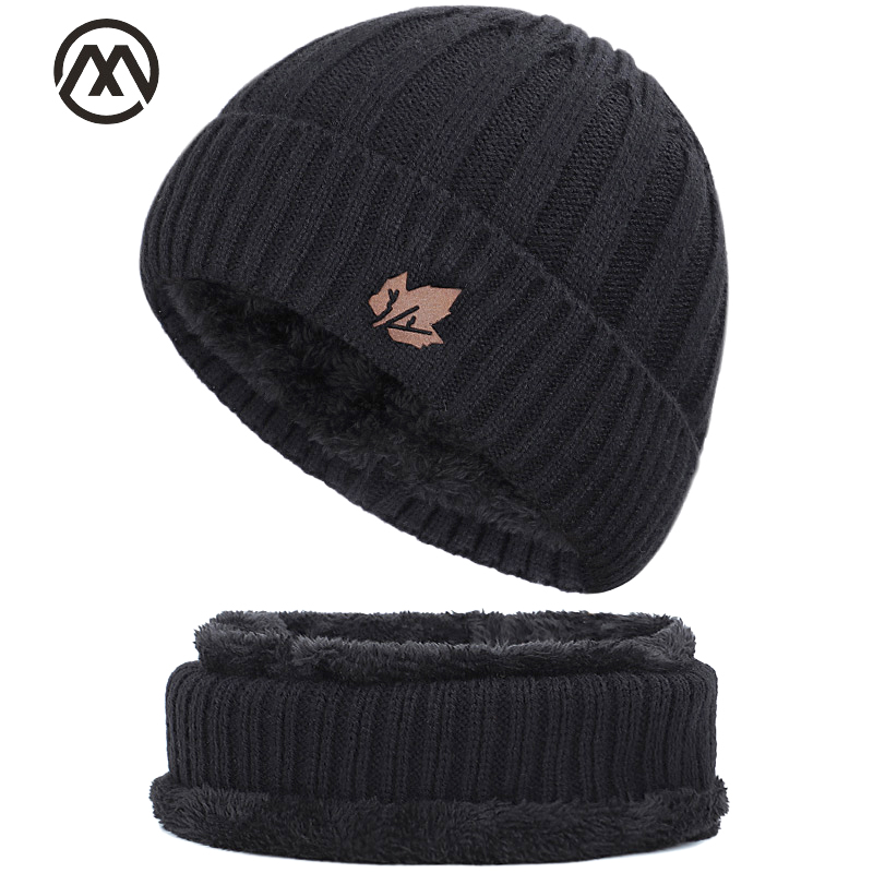2019 men's hat scarf winter plus velvet men and women maple leaf cotton hat outdoor warm knit hat bib thick high quality cotton