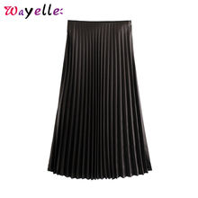 Pleated Skirts Womens 2019 Autumn Winter Solid Soft Touch Midi Women Elegant Elastic Waist Side Zipper