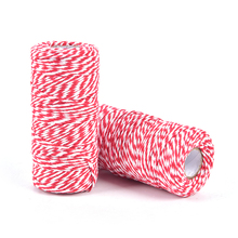 Bakers Twine Cord String Decor-Craft Rope Cotton White Bottle Gift-Box Red 100m/Roll