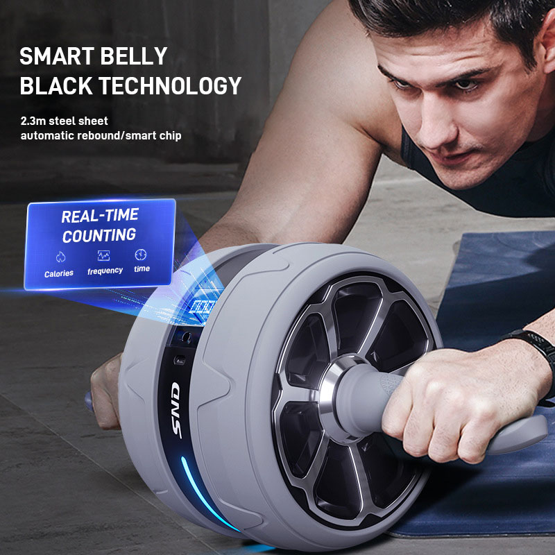 Automatic Rebound Abdominal Wheel Smart Counting Ab Roller No Noise Home Gym Multi-function Abdomen Muscle Trainer Fitness Tools